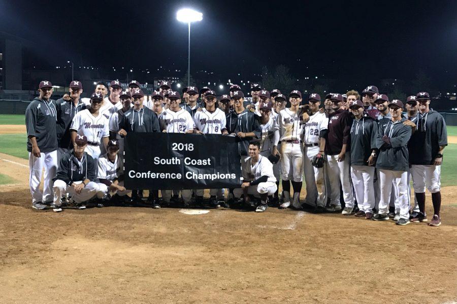 Mt. SAC Baseball celebrating their 2018 South Coast Conference North Championship on Tuesday, April 24. Photo Credit: Jesse Lopez/SAC.Media.