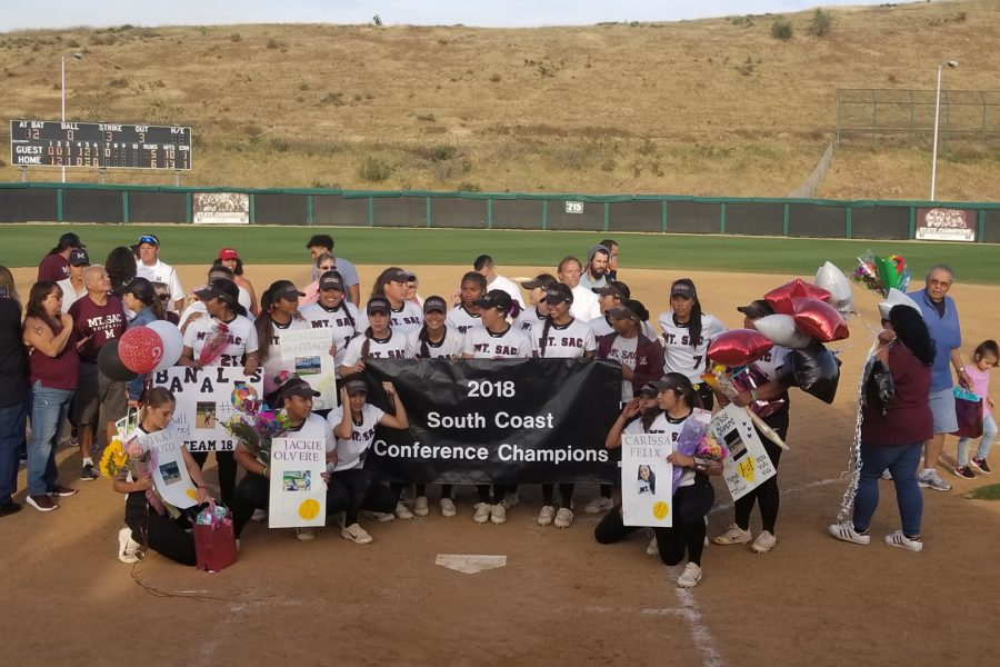 Mt.+SAC+Softball+celebrating+their+2018+South+Coast+Conference+North+Championship+on+Tuesday%2C+April+24.+Photo+Credit%3A+John+Athan%2FSAC.Media.