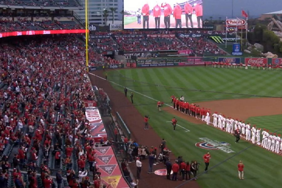 Los Angeles Angels home opener at Angel Stadium on Friday, March 2. Photo Credit: Jesse Lopez/SAC.Media.