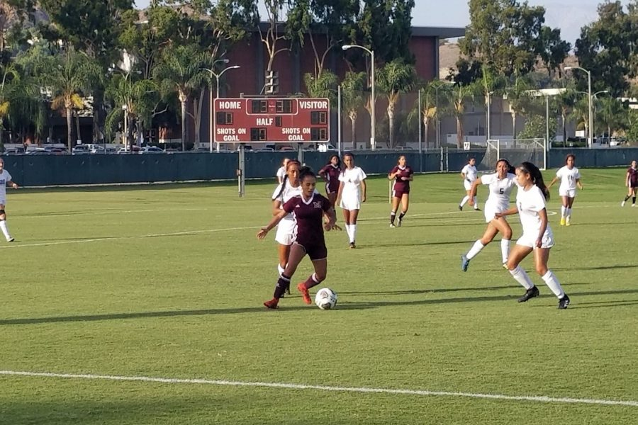 Mt. SAC Women's Soccer forward Kin Spencer versus Fullerton College at home on Tuesday, Aug. 28. Photo Credit: John Athan/SAC.Media