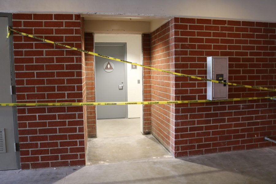 The third floor women's restroom of building 26D is taped off on Sept. 9, 2019. Photo credit Lily Lopez/SAC.Media.