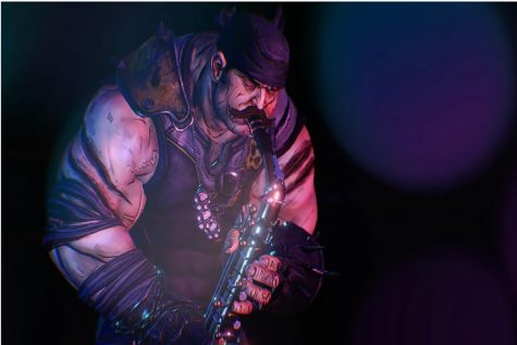 "Brick from ""Borderlands 3"" plays the saxophone. Photo Credit: 2K Games."