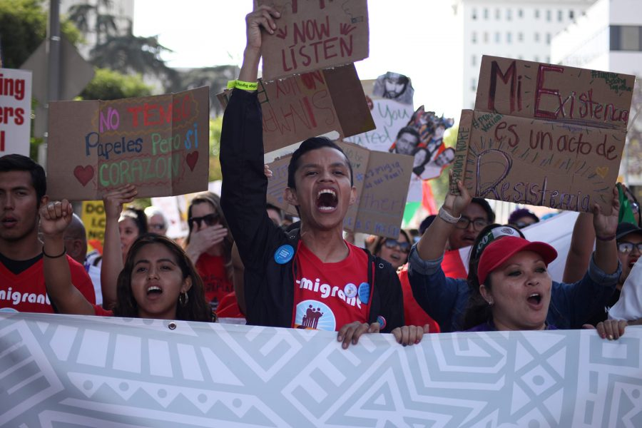 Mt. SAC Dream Program students protest at the May Day March at MacArthur Park on May 1, 2019. Photo credit: Abraham Navarro/SAC.Media.
