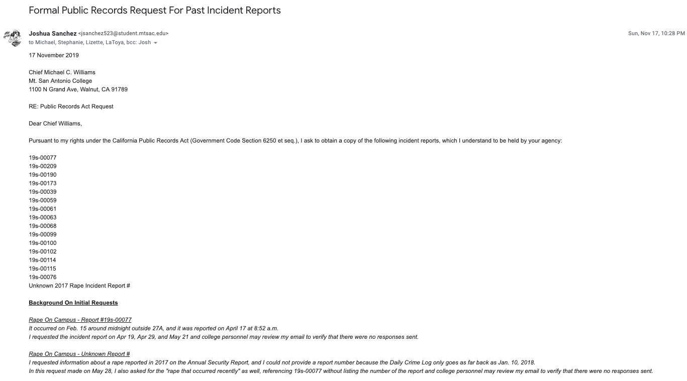 Formal CPRA For Past Incident Reports