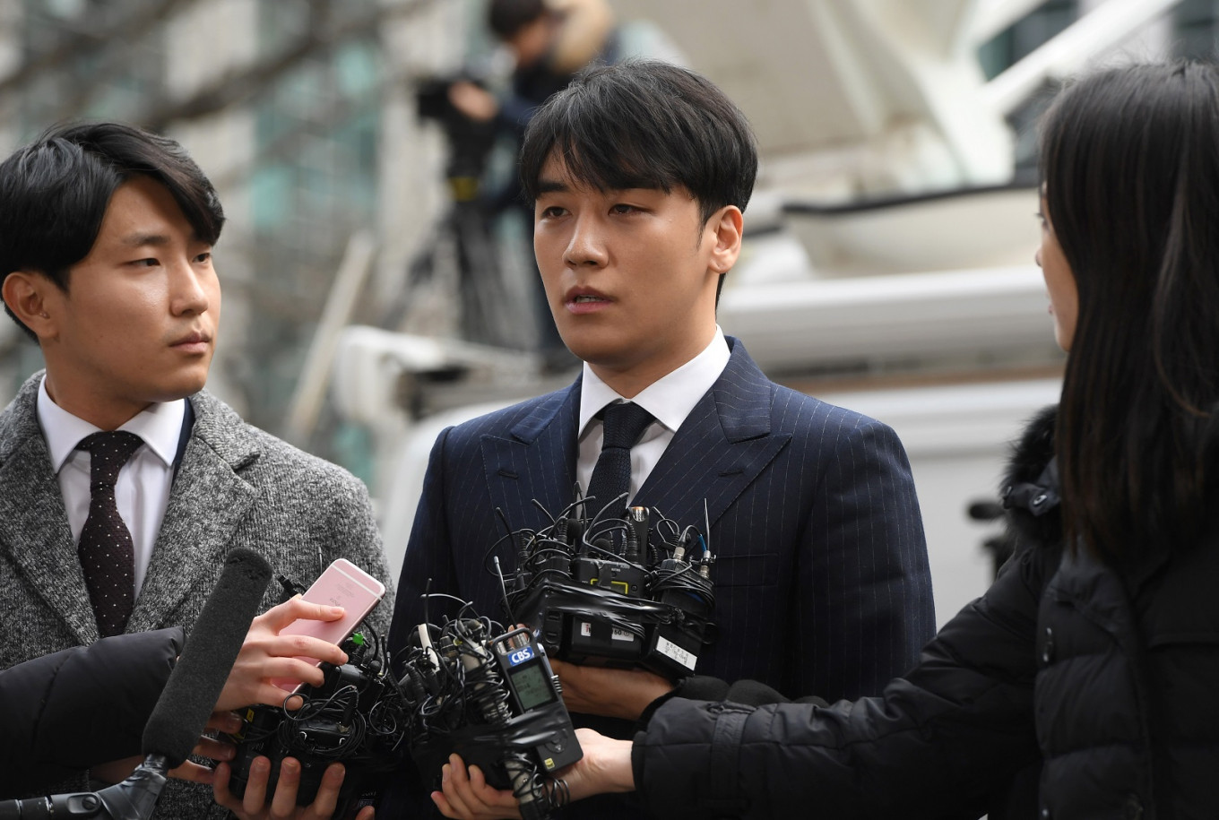 Seungri on a press conference over criminal allegations