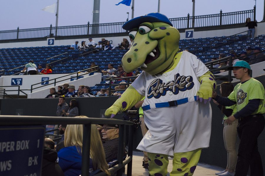 Rancho+Cucamonga+Quakes+mascot%2C+Tremor+the+Rallysaurus%2C+plays+with+fans+at+LoanMart+field+in+Rancho+Cucamonga+on+Thursday+May+3.+Photo+Credit%3A+Hernandez+Coke%2FSAC.Media