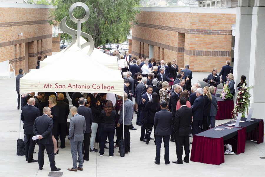 Friends, family and faculty gather in front of Mt. SAC Sophia B. Clarke Theater for Board of Trustee member David K. Hall Ph.D., memorial on Friday, May 11.