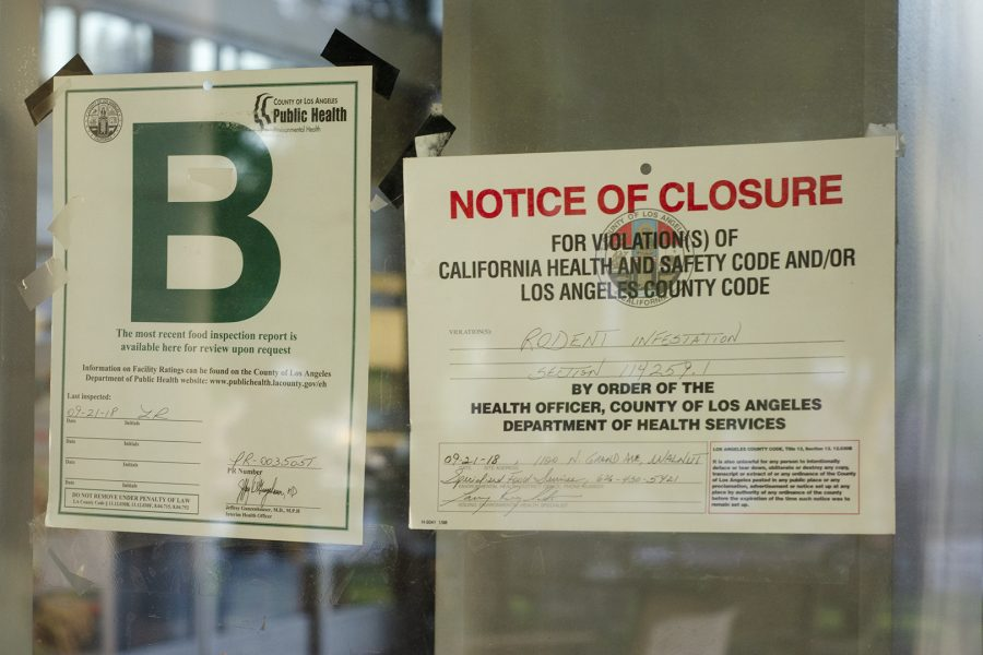 A County of Los Angeles Department of Health Services notice of closure sign is displayed on the window of Mountie Cafe on Thurs, Sept. 27. Photo Credit: Hernandez Coke/SAC.Media