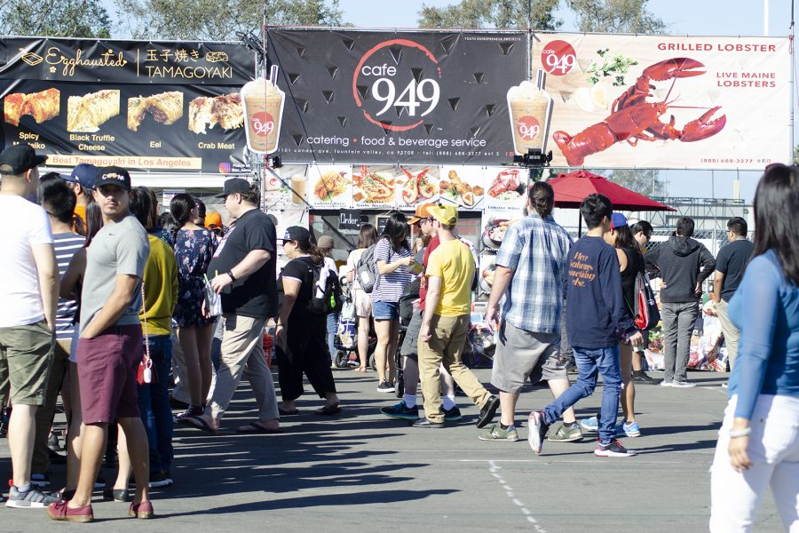 Crowds gather infront of vendors to order food during the OC Japan Fair in Costa Mesa on Sunday, Oct. 21. Photo Credit: Hernandez Coke/SAC.Media