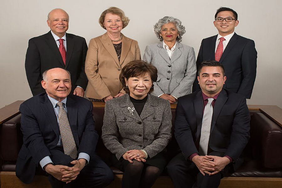 Mt. SAC Board of Trustees. Top row left to right: Dr. Manuel Baca, Ms. Rosanne Bader, Ms. Laura Santos, Mr. Jay F. Chen. Bottom row left to right: Dr. David K. Hall, Judy Chen Haggerty, Esq., Mr. Robert F. Hidalgo. Photo Credit: Mt. SAC