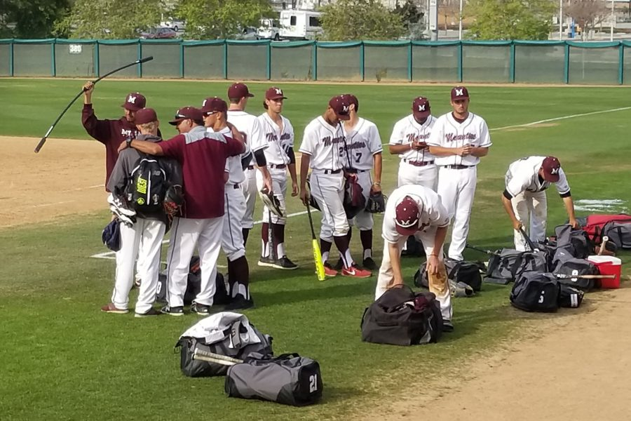 Mt. SAC Baseball gathers near the home dugout at Mazmanian Field on Saturday, March 31. Photo Credit: John Athan.