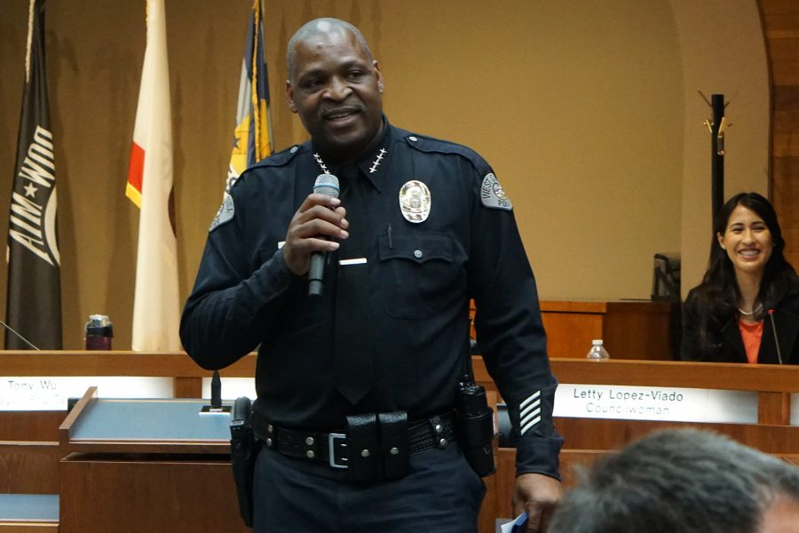West Covina's new police chief, Richard Bell, tells the chambers how thankful he is to serve the community. Photo credit: Joshua Sanchez/SAC.Media.