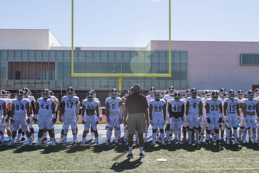 Assistant+coach+Evans+Roderick+addresses+the+Mt.+SAC+Football+team+before+their+game+against+El+Camino+on+Covina+District+Field+on+Oct.+26%2C+2019.++Photo+credit%3A+Mychal+Corbin%2FSAC.Media