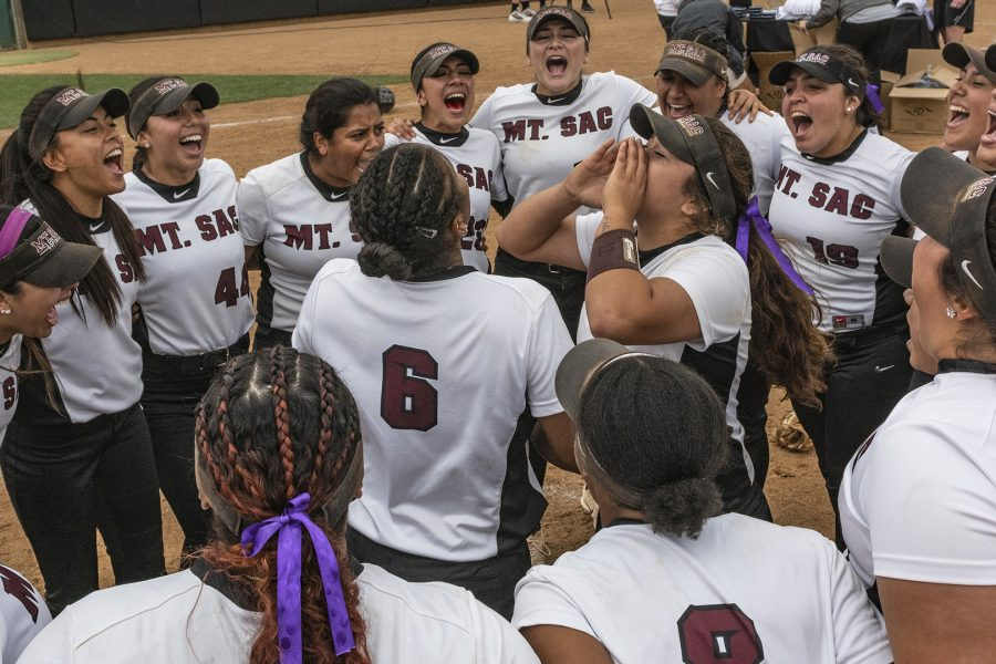 Mt. SAC Softball celebrate the 2018 CCCAA State Championship win against Palomar College at home on Sunday, May 20. Photo Credit: Mychal Corbin @shotstotheheart