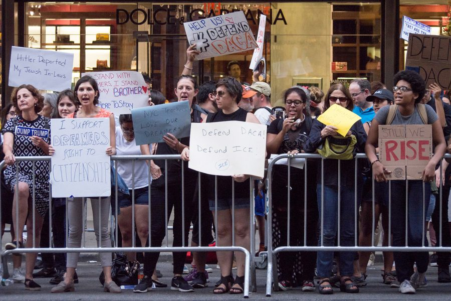 Protestors in front of Trump Tower following the Trump administration's announcement to end DACA in September 2017.