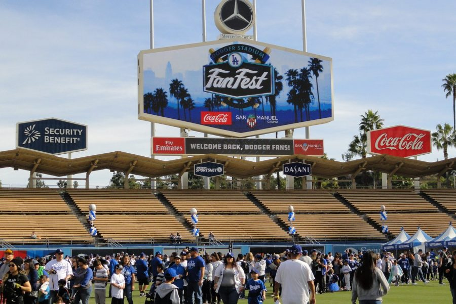 Fans take the field and take in the experience on Jan. 27 at Dodger Stadium. Photo Credit: Miranda Virgen