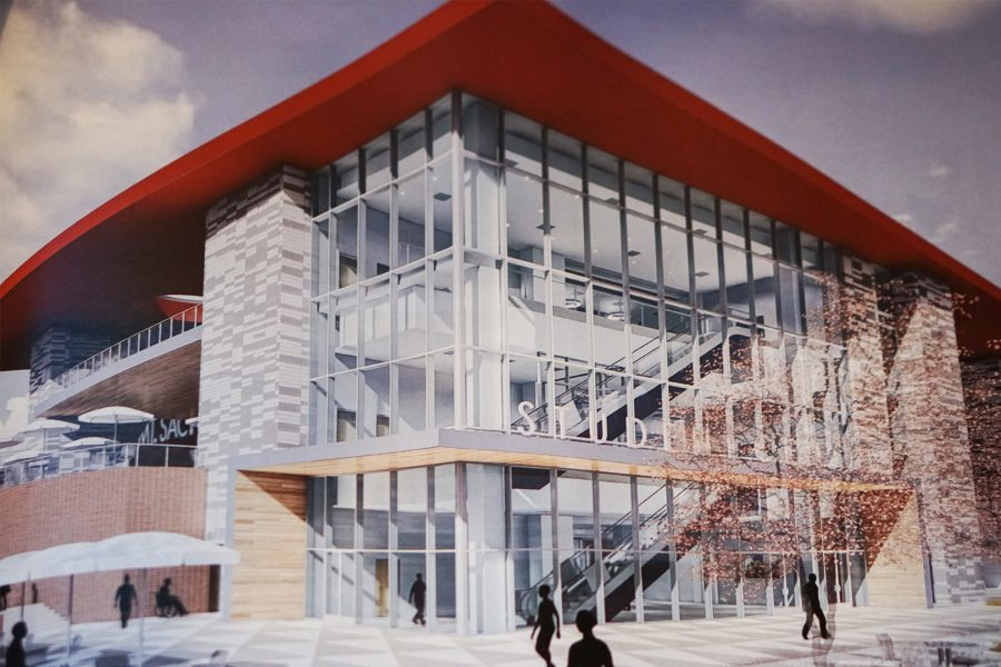 The+student+center%27s+proposed+exterior+design+as+presented+at+the+Citizen%27s+Oversight+Committee+meeting+on+Feb.+7.