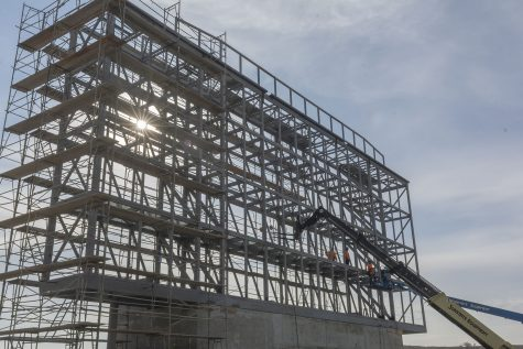 Scoreboard under construction at Hilmer Lodge Stadium, which opens in Spring 2020. Photo by Mychal Corbin/SAC.Media