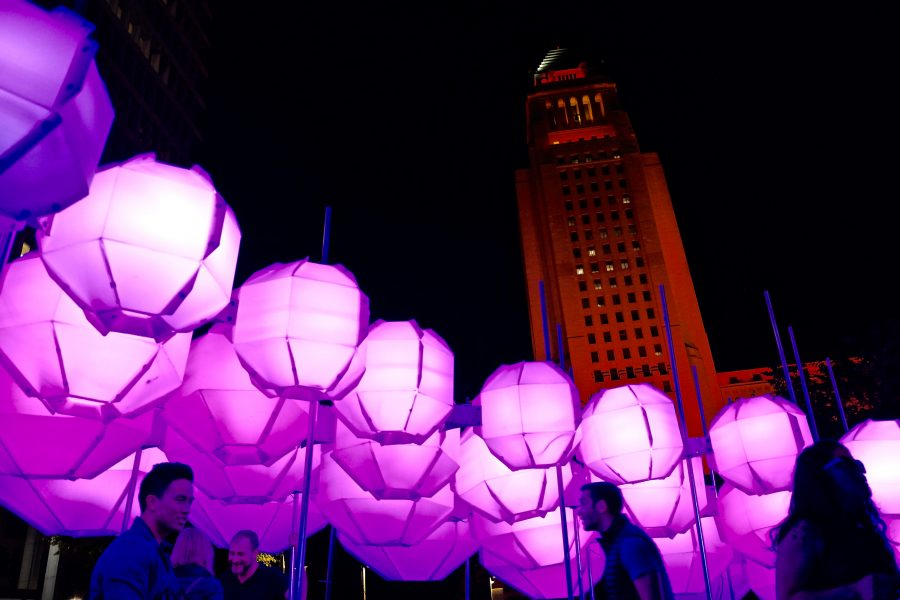 Lanterns over Grand Park during i3 Arts Festival with Los Angeles City Hall in the background. Photo by Doug de Wet/SAC Media.