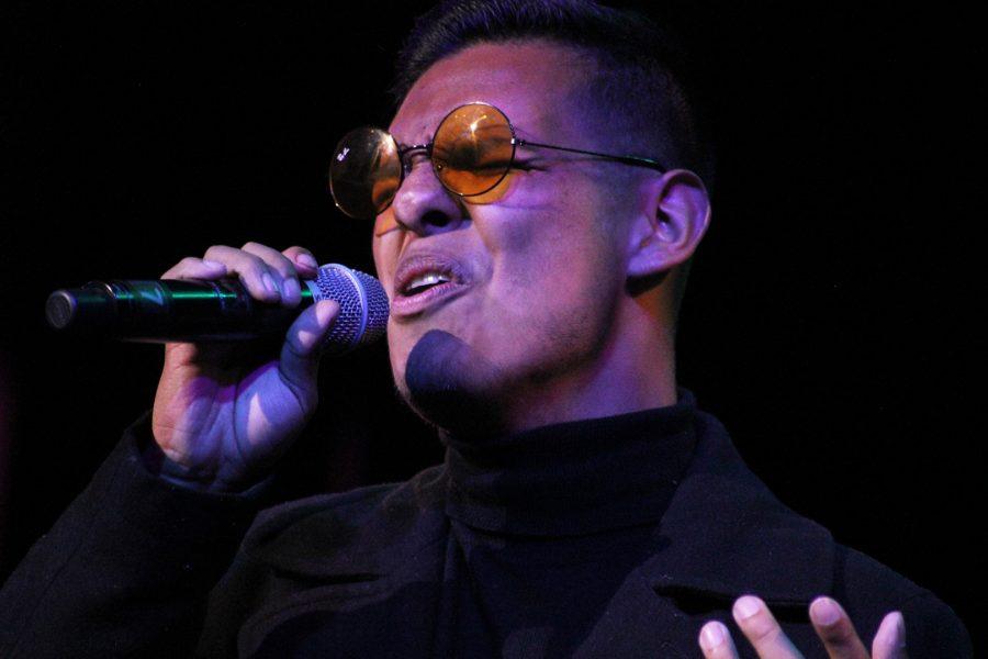 "Bryan Alvaraz, performer, sang ""Call Out My Name"" at Spring Thing on May 10 at the Clark Theater. Photo credit: Lauren Berny/ SAC.Media."
