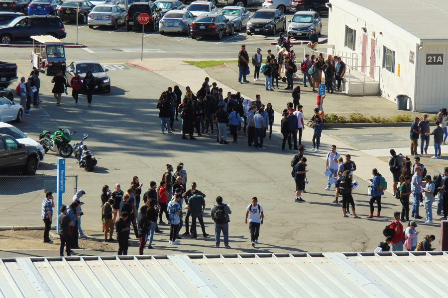 Faculty+and+students+gather+outside+near+BLDG.+21A+during+Mt.+SAC+building+evacuation+on+Thurs%2C+Oct.+11.+Photo+Credit%3A+Josh+Sanchez
