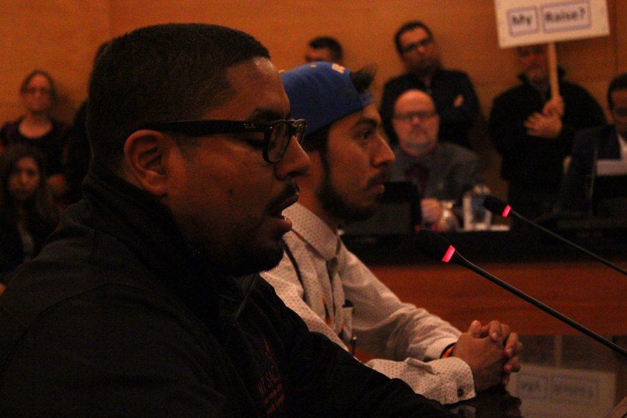 At the Board of Trustees meeting on Nov. 14, MEChA advisor Fabián Pavón and Mt. SAC alumnus now at UCLA Alejandro Juarez. Photo Credit: Lauren Berny
