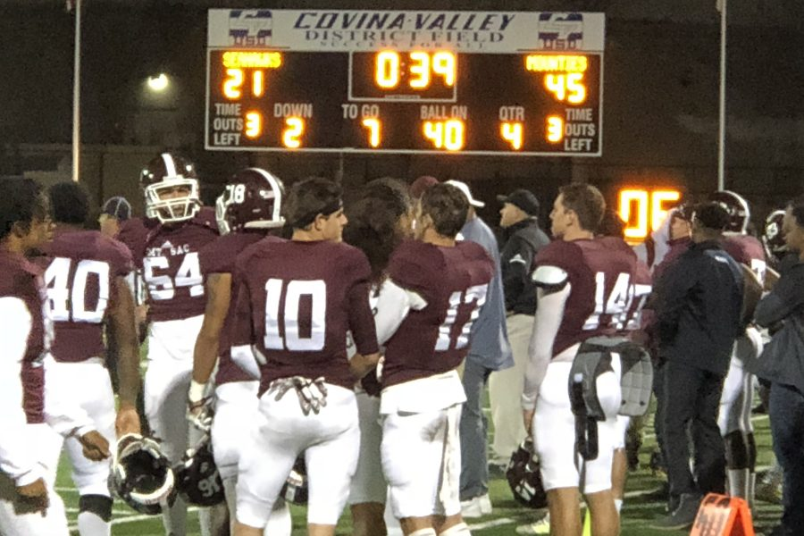 Mt SAC Football team gathers around in the last 39 seconds of the game. Photo Credit: Danny Meshamel