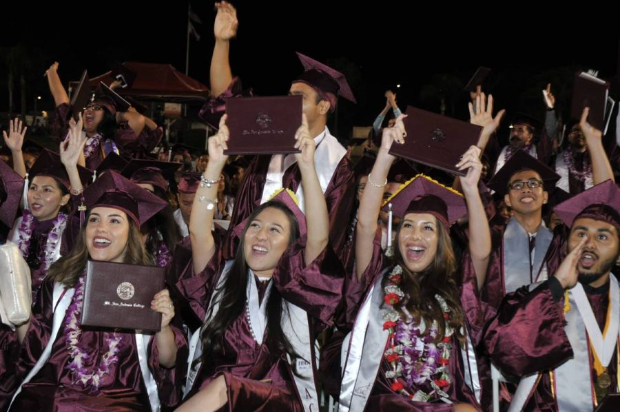 Mt. SAC graduates at the Mt. SAC 2016 graduation at Hilmer Stadium. Photo/Mt.SACMarketing