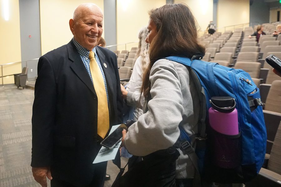 Holocaust Survivor Jerry Weiser speaks with a Mt. SAC student after speaking in the Design Technology Center on Dec. 20, 2019. Photo credit: Emerald Fimbres/SAC.Media.