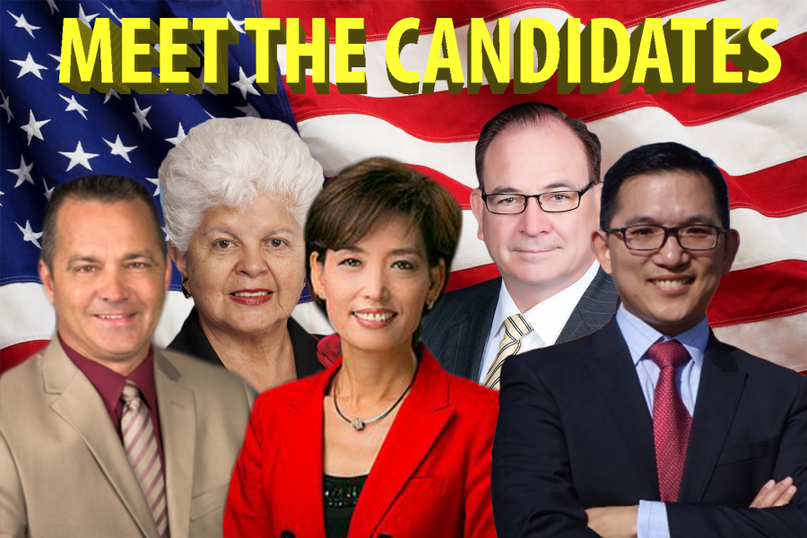Candidates%2C+Steve+Vargas%2C+Grace+Napolitano%2C+Young+Kim%2C+Bob+Huff+and+Jay+Chen.+Photo+by+Angelica+Cruz.