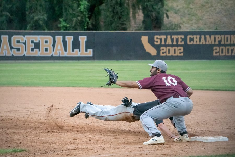Alex Gonzalez, player 10, on a pickoff attempt on first base during their game May 10 against Riverside Tigers. Photo credit: Travis Jepeway/ SAC.Media.
