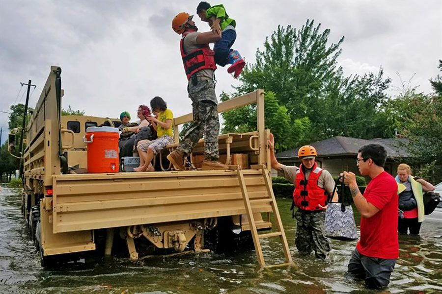 National guard assist Houston residents affected by flooding. Lt. Zachary West/Department of Defense. (The appearance of U.S. Department of Defense (DoD) visual information does not imply or constitute DoD endorsement.)