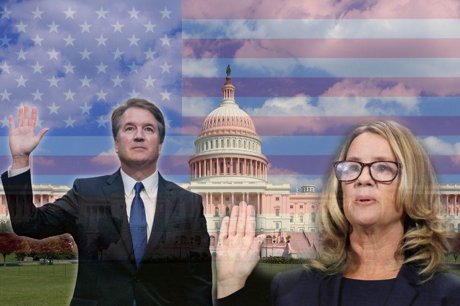 Christine+Blasey+Ford+and+Supreme+Court+nominee+Brett+Kavanaugh+during+Kavanaugh%E2%80%99s+hearing+on+Thurs%2C+Sept.+27.+Graphic+Credit%3A+Hernandez+Coke%2FSAC.Media