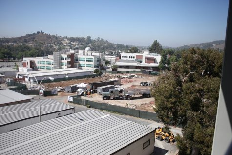 The fall of the WOW Cafe from Mt. SAC Building 26D to make room for the new student center. Photo credit: Abraham Navarro/SAC.Media.
