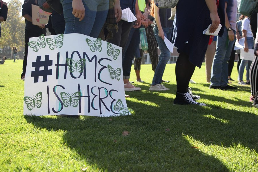 A student placed their sign on the ground after a march to listen to leaders and lawyers speak about the processes moving forward with DACA. Photo credit: Abraham Navarro/SAC.Media.