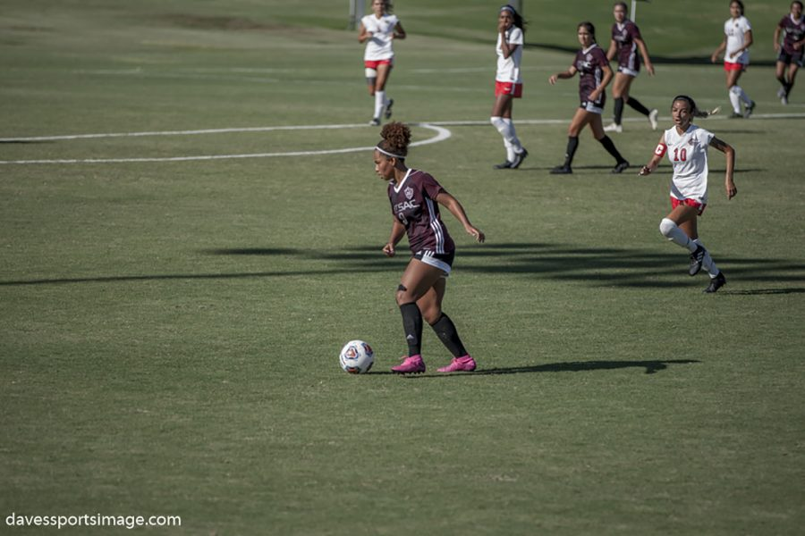 Mt. SAC women's soccer player Hannah Grady in action during the Mt. SAC vs. Chaffey College game on Sept. 6, 2019. Photo courtesy of Hannah Grady/DavesSportImage.com