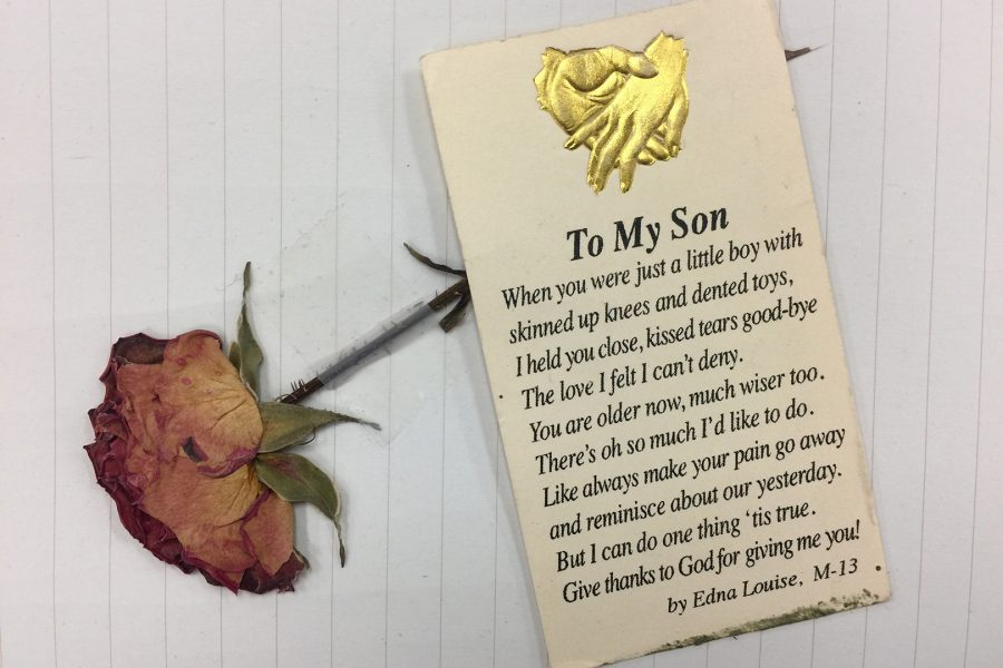 A+prayer+card+given+to+Joseph+by+his+mother+following+his+stay+at+the+hospital.+Photo+courtesy+of+Joseph+Harvey.