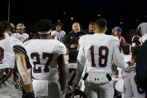 Mt. SAC Football Coach Bob Jastrab speaks to the team in a huddle after the Southern California Football Association Southern Regional Semifinal against Riverside Community College on November 23, 2019. Photo credit: Andre Tinoco/SAC.Media.