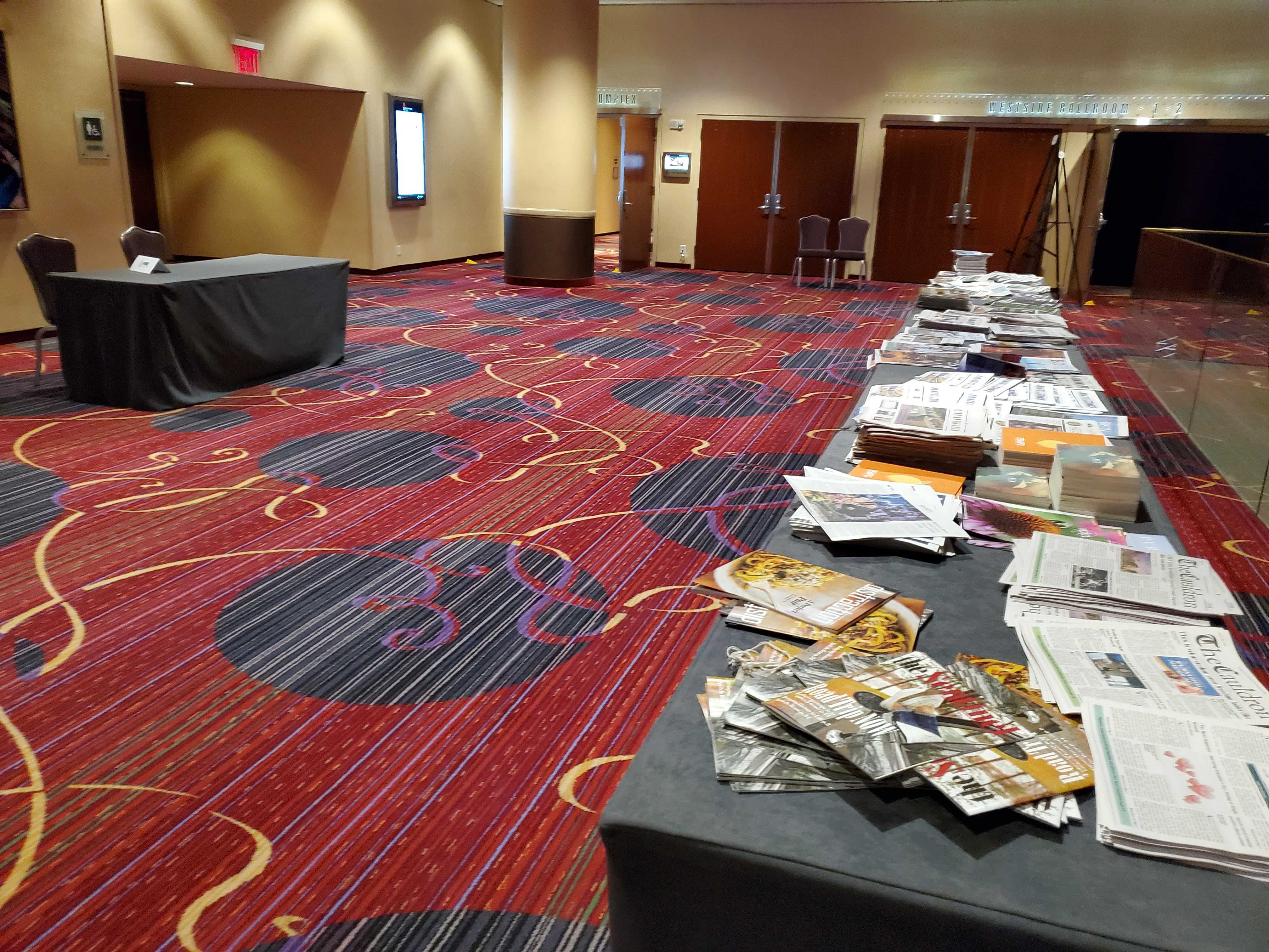 Photo of conference floor on Friday evening.
