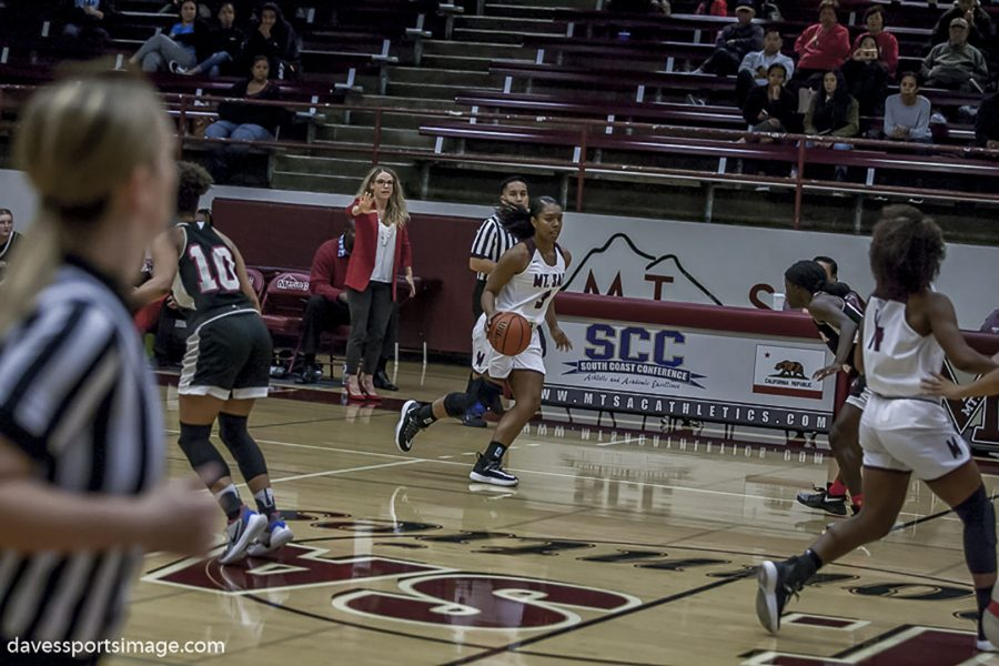 Mt.+SAC+women%27s+basketball+player+Taylor+Shelby+dribbles+the+ball+down+the+court+during+a+game+against+Palomar+College.+Photo%3A+Davessportsimage.