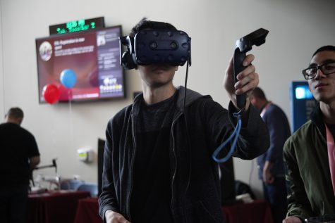 A Mt. SAC student tests a virtual reality game at the Video game Fest at Mt. SAC building 13. Photo credit: Abraham Navarro/SAC.Media.