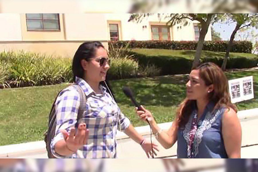 Maria Mejia interviews a Mt. SAC students for SOMOS