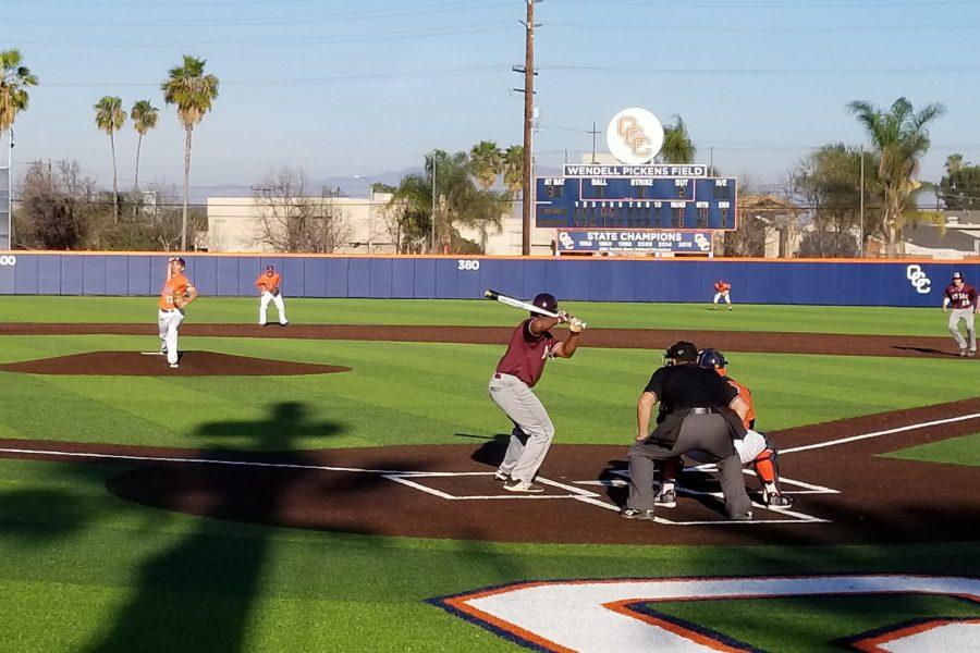 Mt.+SAC%27s+Brandon+Bradshaw+at-bat+versus+Orange+Coast+College+on+Feb.+9.+Photo+Credit%3A+John+Athan