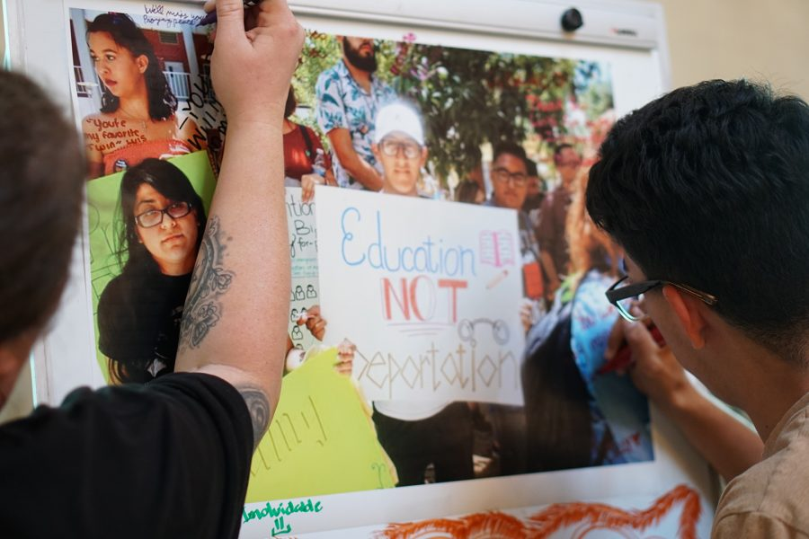 Students signed a collage of Luis Sanchez and his family. Photo credit: Josh Sanchez/SAC.Media