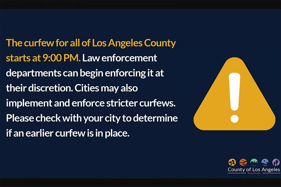 Due to massive protests over police brutality and the death of George Floyd, Los Angeles officials enacted countywide curfews for four nights in a row. Photo Courtesy of LACounty.gov.