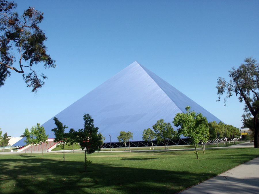 The Walter Pyramid at Cal State Long Beach. Photo courtesy of Wikimedia Commons.
