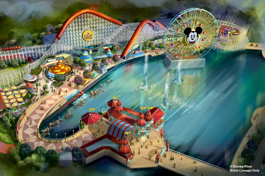 Artist Concept for Pixar Pier at Disney California Adventure. Photo from The Walt Disney Company.