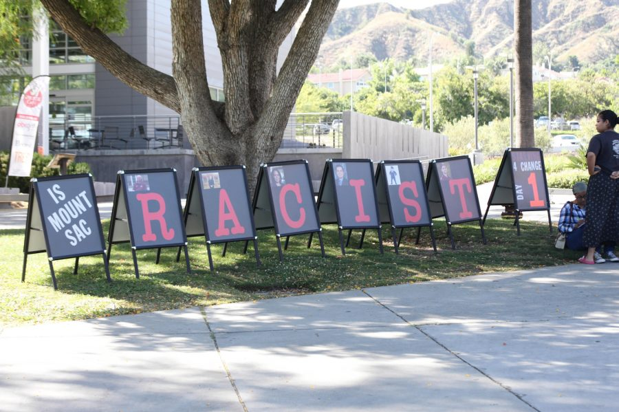 Eight+a-frame+signs+were+up+on+Kerr%27s+Corner+on+June+2+spelling+out%2C+%22Is+Mt.+SAC+racist.%22+Photo+credit%3A+Abraham+Navarro%2FSAC.Media.