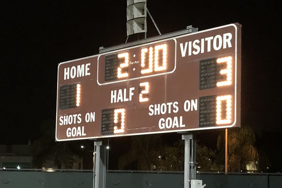 Scoreboard of the Women's Soccer Game vs Rio Hondo Photo: Danny Meshamel