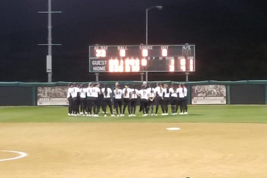 Mt. SAC Softball gather on center field on Feb. 2. Photo Credit: John Athan